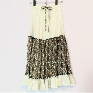 Boho Paisley Cream Ruffle High Waist Maxi Skirt